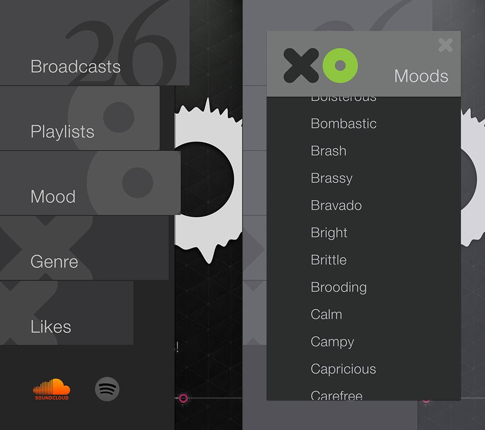 XO app sidebar moods sort