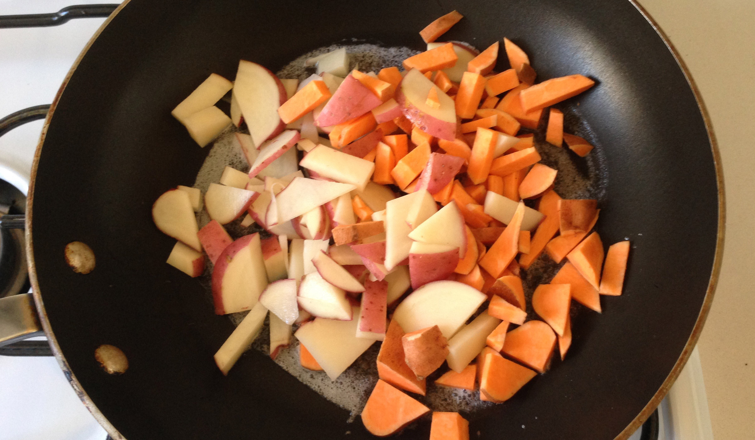 potatoes in - on medium heat