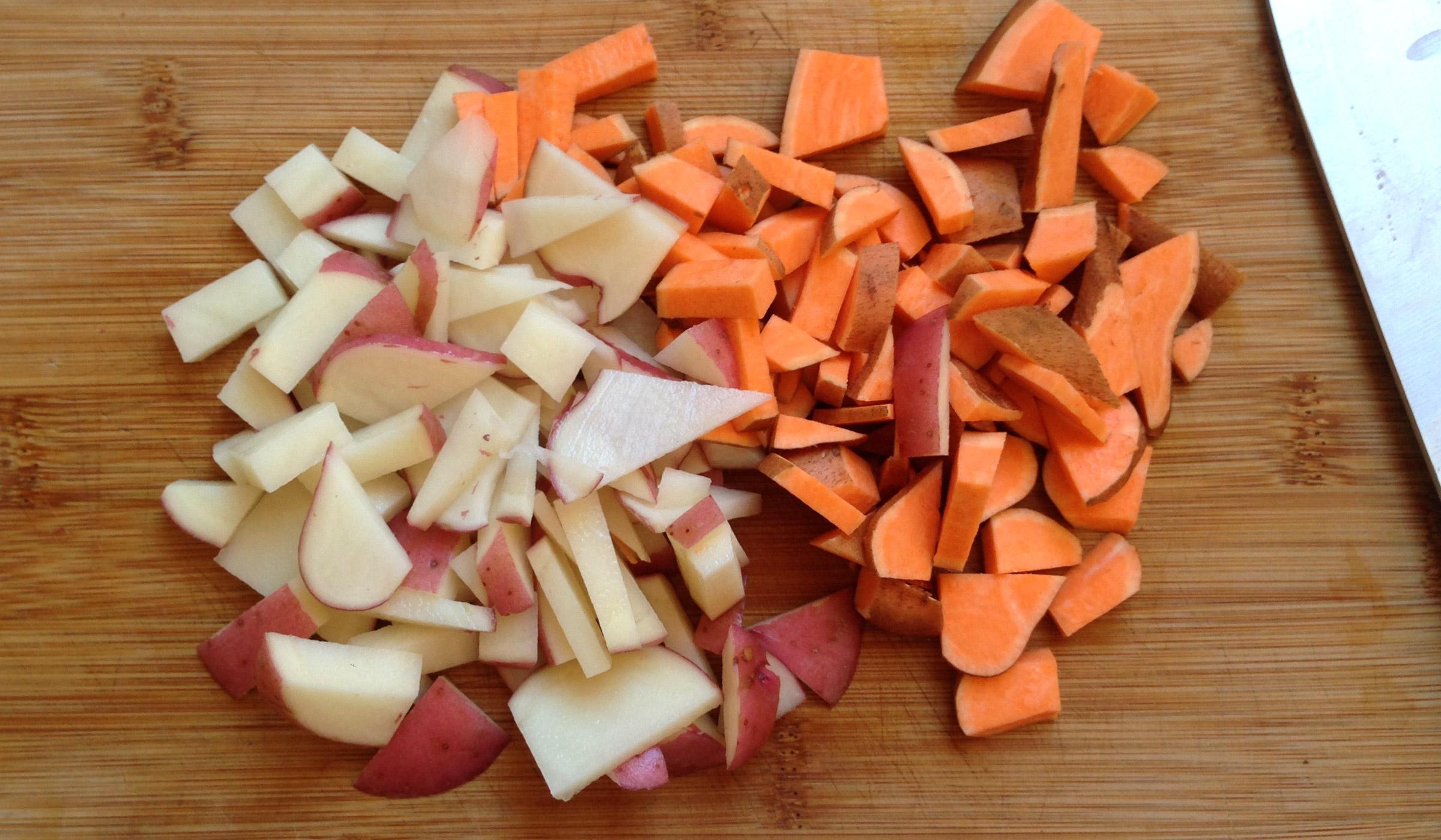 randomly chopped potatoes
