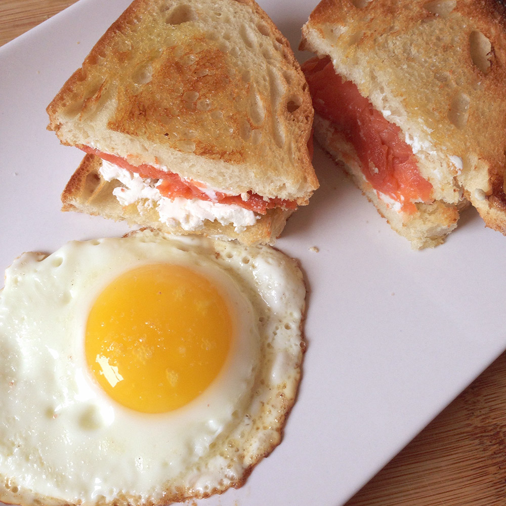 lox and goat cheese sandwich