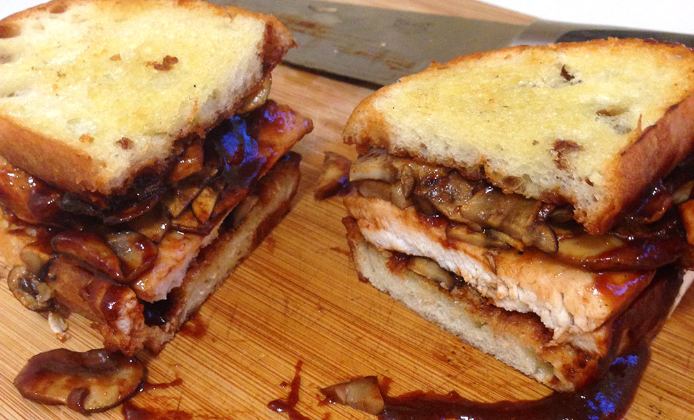 mushroom and bbq chicken sandwich